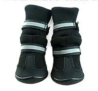 (つながる)Vedem 犬用 ロングタイプ ブーツ 靴 シューズ 大型犬靴 滑り止め 防水ゴム底 (S, ブラック) [並行輸入品]
