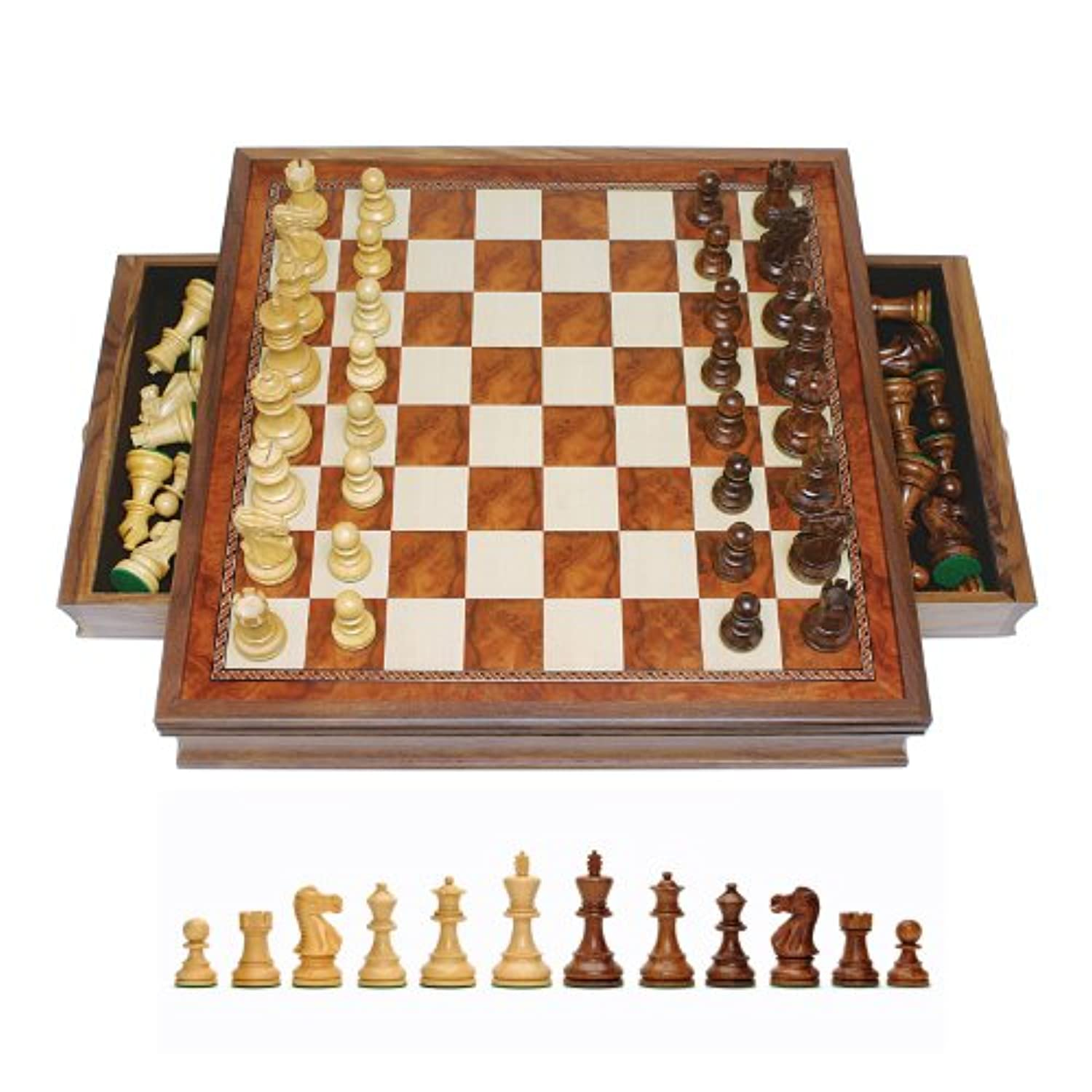 WE Games Grand English Style Chess Set with Storage Drawers - Pieces are Tournament Sized and Hand Carved with Camphor