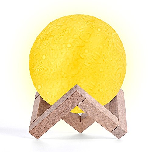 HailiCare 月ランプ 月ライト LED小夜灯 3Dプリント ベッドサイドランプ デスクライト テーブルランプ ルームライト 叩き調光/無段階調光可能 三色切り替え 雰囲気作り 吊る可能 木製のスタンド付き USB充電式 直径13cm プレゼント 屋内 おしゃれ