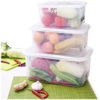 プラスチック収納ボックス、フルーツ収納ボックス冷蔵庫収納ボックスセット野菜乾燥品密閉箱米樽食品保存5.2L 27倍、20倍、13cm