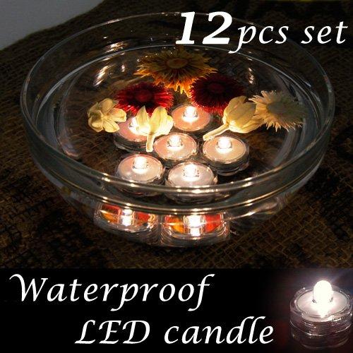 完全防水LEDキャンドル12個セット(ホワイト)バスタイムやインテリアのアクセントに(テスト電池付き)