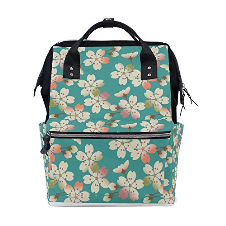 ママバッグ マザーズバッグ リュックサック ハンドバッグ 旅行用 桜花柄 青 ファション