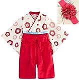 JUST style 着物風 ロンパース カバーオール 和服 可愛い 花飾り付き 男の子 女の子 (70cm,レッド)