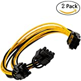 Kalolary-6 pin to 2 x PCIe 8 (6+2) pin Graphics Card PCI-e Express VGA Splitter Power Extension Cable(2 Pack) (6 pin to 2 x PCIe 8 (6+2) pin)