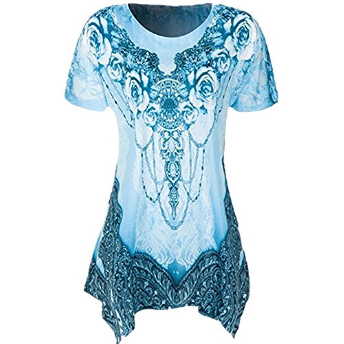 遺体安置所ゆるい摩擦Hosam レディース 洋服 Tシャツ プリント ゆったり 大きなサイズ 不規則 おもしろ 快適 夏 ダンス ヨガ 普段着 ファッション 大人 おしゃれ 体型カバ― お呼ばれ 通勤 日常 快適 大きなサイズ シンプルなデザイン 20代30代40代でも (2XL, ブルー)