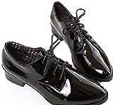 MIELIKKI レディース おじ 靴 オックスフォード フラット シューズ (24センチ, 黒)