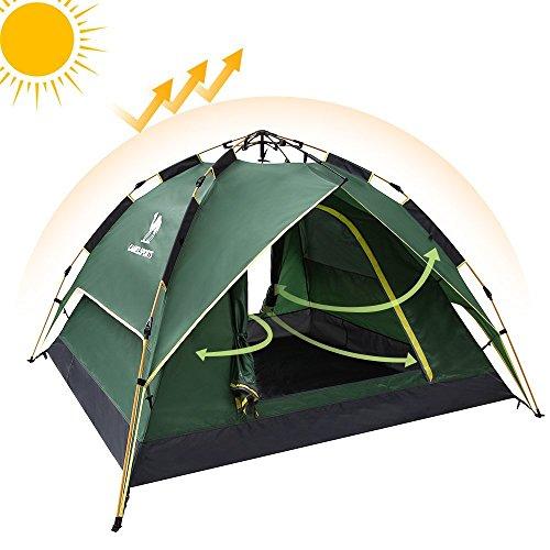 テント Camel[キャメル] ワンタッチテント ロープ引くタイプ フルクローズ ドームテント折りたたみ キャンプテント 設営簡単 撥水加工 通気性 防雨 防風 紫外線カット 3-4人用