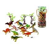LBLA 恐竜フィギュアおもちゃ 35個セット ミニダイナソーモデル 野生動物 子供玩具 誕生日 プレゼント パーティー装飾 円筒収納ケース付き