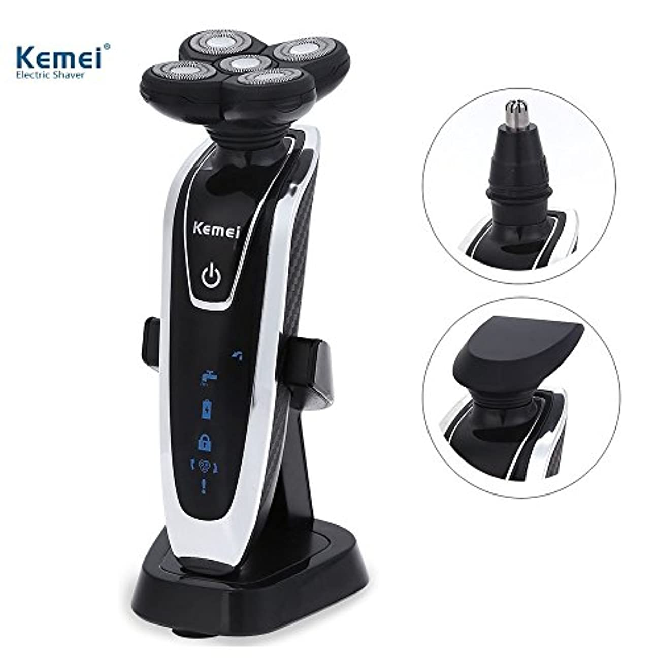 Kemei 5888 3 in 1電気シェーバー充電式多機能5 dフローティングシェーバーかみそりで充電ブラケットIPX 7防水
