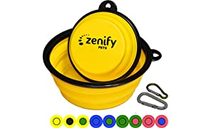 Zenify Dog Bowl Food & Water Feeder 2 Pack - Extra Large 1000ml 17.8cm & Small 400ml 12.7cm Collapsible Portable Foldable Travel Dish Leash Lead Slim Accessories for Puppy Dogs (Yellow XL/Yellow S)