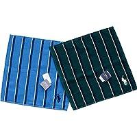 ポロ ラルフローレン メンズ タオルハンカチ 2セット ギフト袋付 ブルーとグリーン ストライプ POLOロゴ刺繍入り
