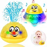 Bath Toys, 2 in 1 Induction Spray Water Toy & Space UFO Car Toys with LED Light Musical Fountain Toy Automatic Induction Spri