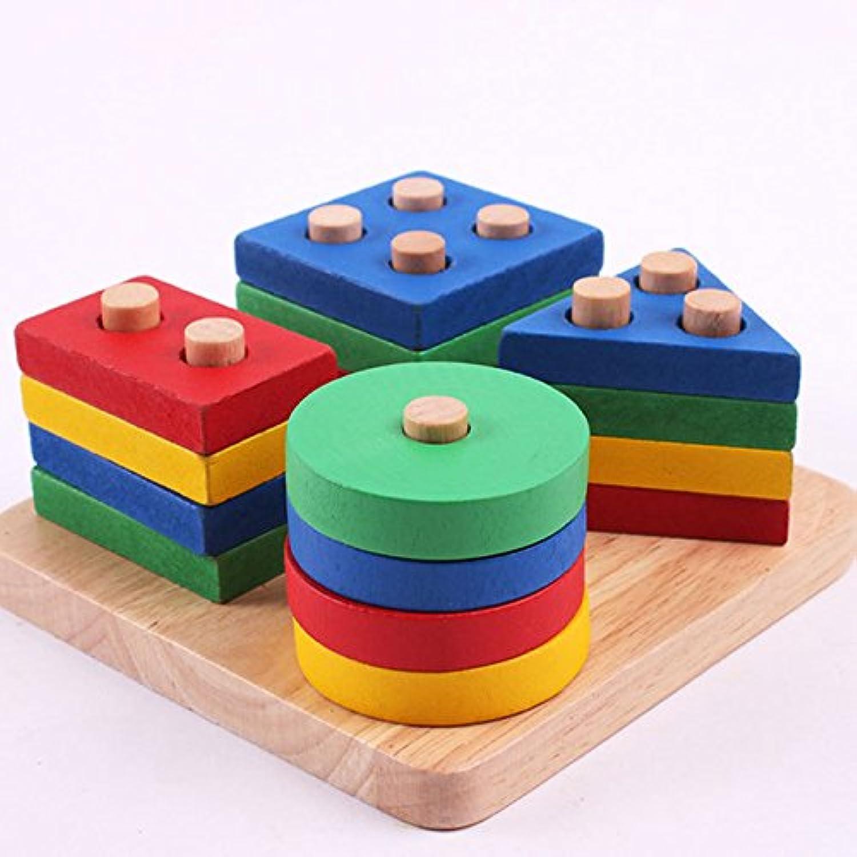 木製 知育玩具 図形組み合わせ型 積み木 幾何学形状