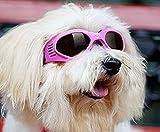 かわいい キュート 小型 犬 用 サングラス ゴーグル メガネ ペット 用品 グッズ ホワイト イエロー ピンク ブルー おしゃれ な 蝶ネクタイ セット (ピンク・S)