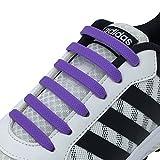 [Joyshare] 靴紐 結ばない ゴム 靴ひも シリコン シューレース 伸縮性 ほどけない スニーカー紐 (パープル)