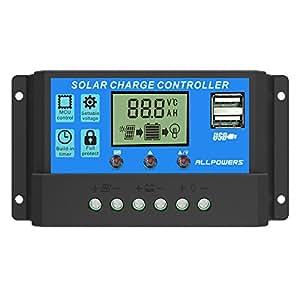 ソーラーチャージャーコントローラー ALLPOWERS 20A 12V/24V LCD 充電コントローラー 電流ディスプレイ 液晶 デュアル USB付き ソーラーパネル バッテリレギュレータ 温度表示 自動調整スイッチ 過負荷保護(青)