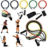 Perfeclan Resistance Bands Set (11 Pack), Exercise Bands for Working Out - Includes Stackable Workout Bands, Foam Handles, Ankle Straps, Door Anchor, Carry Bag