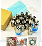 chiyan (20種類絞り口金+5枚使い捨て絞り袋+1枚シリコーンゴム絞り袋+2個取り替えキャップ) ステンレス製 3D口金 絞り口金20個付  絞り袋 口金用キャップ  デコレーションツール  フラワーケーキの作り道具