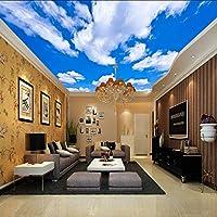 Lixiaoer カスタム天井壁画壁紙3D青空と白い雲リビングルームの寝室天井の背景写真の壁紙Wallcoverings-250X175Cm
