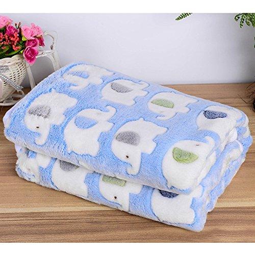 犬猫用 ベッド 毛布 ブランケット クッション スーパーソフト (L:90X110CM, 青)