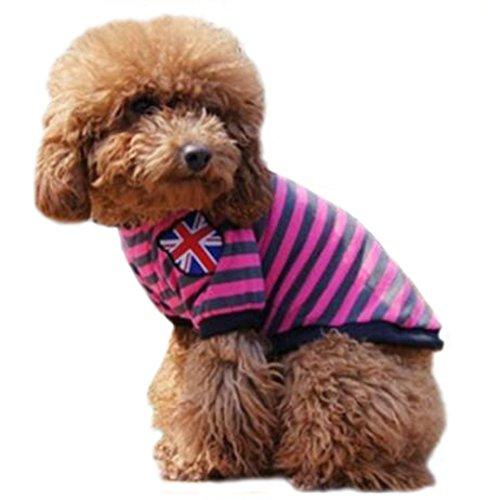ふく福 可愛い 綿製 ストライプ ペット犬服Tシャツ ボーダ...