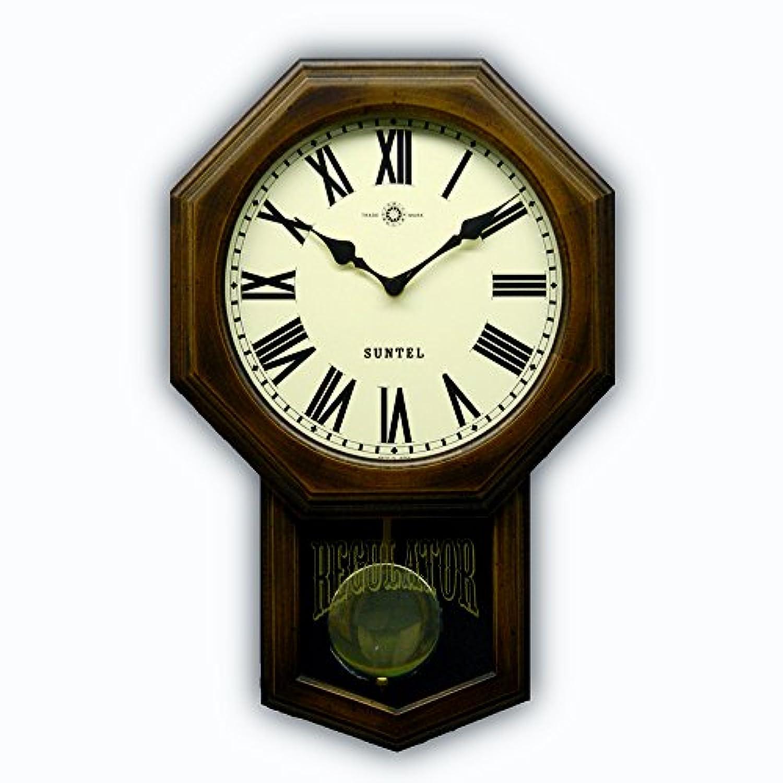 日本製 さんてる 八角 アンティーク電波振り子時計 ローマ文字 SR07R