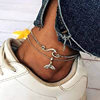 Tgirls Boho Wave Anklets Silver Fish Tail Ankle Bracelet Double Foot Chain for Women and Girls