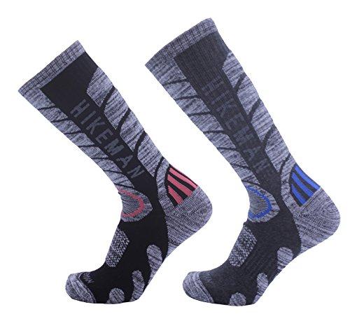 靴下 メンズ トレッキングソックス 防寒ソックス 登山 スキー 男性靴下 2足入り (ブラック1足xダークグレー1足)