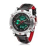[ビンズ] BINZI ファッション 腕時計,カジュアル 多機能 デジタル表示 日付 曜日 防水 革バンド 1609-SR メンズ