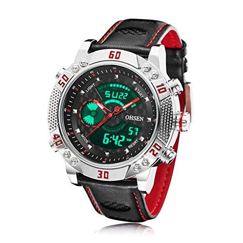 BINZI ファッション 腕時計,カジュアル 多機能 デジタル表示 日付 曜日 防水 革バンド 1609-SR メンズ -