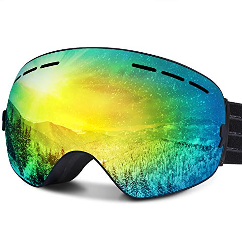 FYLINA スキーゴーグル スノーゴーグル スノーボードゴーグル フレームレス 広視野 球面ダブルレンズ 曇り止め 偏光 レンズ着脱可能 UV400 紫外線カット メガネ対応 3層スポンジ 通気 防風 防塵 防雪 軽量 耐衝撃 男女兼用 ケース付き