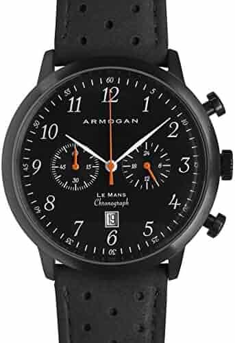 2cad51fc30 Armogan Le Mans – ミッドナイトブラックs23 – Men 's Chronograph Watch – Perforedスエード