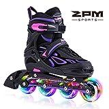 2pm Sports ジュニア インラインスケート 子供用 Inline skate 初心者向け 本格的な仕様 サイズ調整可能 3サイズ選べる 男女共用 (パープル, S)