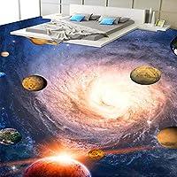 Xbwy 注文のフロアーリングの壁紙3Dの立体現代惑星スペース渦巻き写真の床壁画ポリ塩化ビニールの自己接着浴室の床のステッカー-150X120Cm