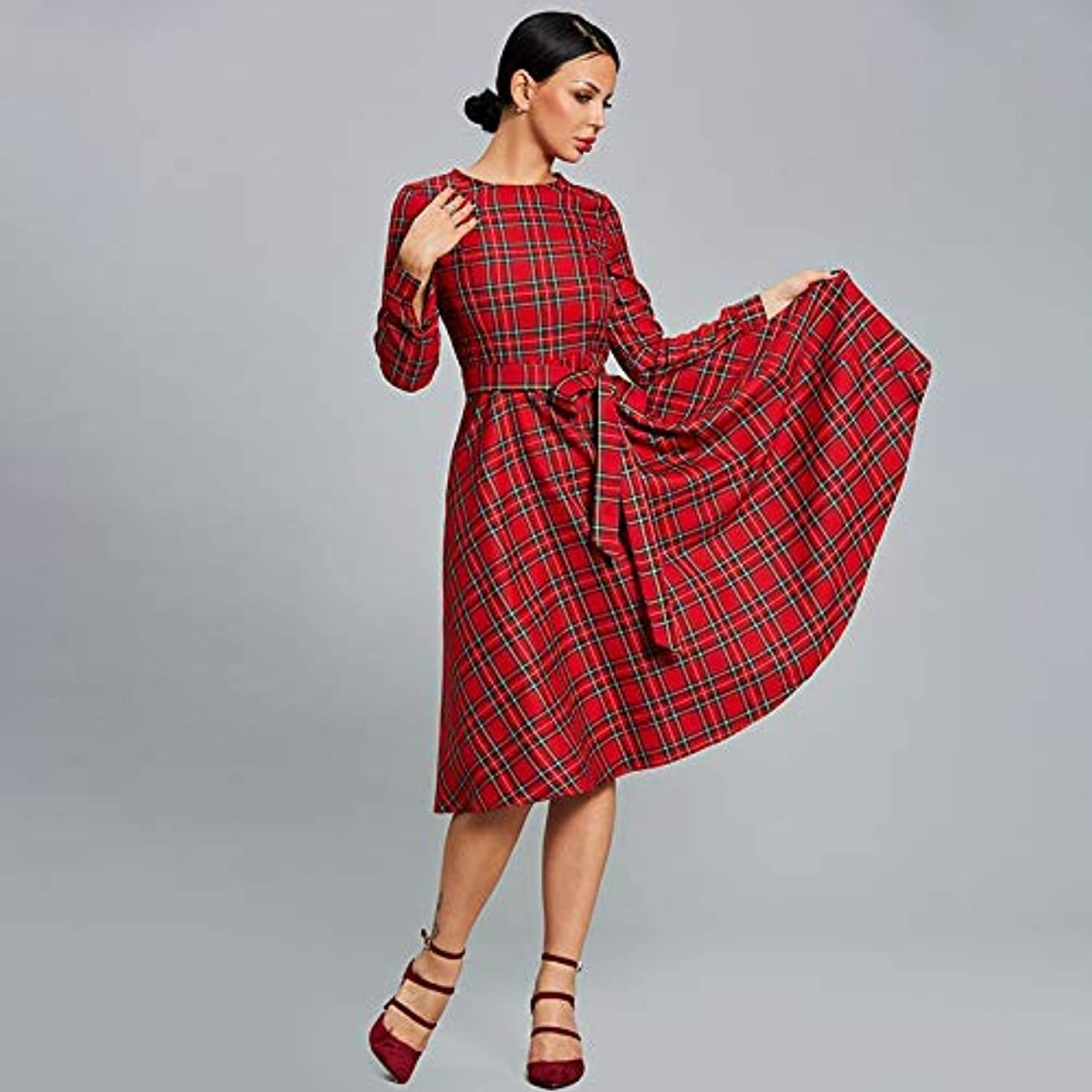 賭け病的道に迷いましたOnderroa - 女性のドレス秋のタータンチェックレッドパーティードレスOネックロングスリーブパッチワークラインデー2018女性の厚いヴィンテージドレス