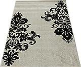 輸入絨毯 19万ノット ウィルトン織り efes-133190 (SUL) 約133×190cm アイボリー トルコ製 輸入カーペット ラグ じゅうたん 白黒