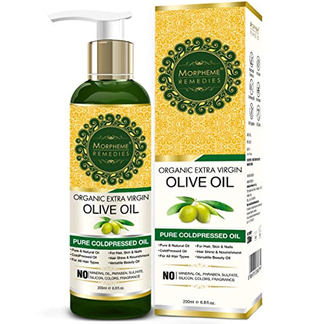 十代の若者たち葡萄所持Morpheme Remedies Organic Extra Virgin Olive Oil (Pure ColdPressed Oil) For Hair, Body, Skin Care, Massage, Eyelashes...