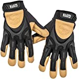 Klein Tools 60188 Work Gloves, Professional Grade Leather Gloves with Knuckle and Finger Protection, Thumb Reinforcement, Mesh Back, Large