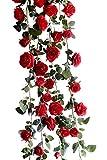 Lumierechat バラ 薔薇 ローズ 造花 シルクフラワー フラワー ガーランド ピンク レッド ホワイト イベント 装飾 デコレーション a-8106(1.8m/レッド)