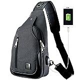 CtwoQ ボディバッグ ワンショルダーバッグ 斜めがけ 軽量 左右肩がけ対応 iPad mini 収納可 (ブラック USB)