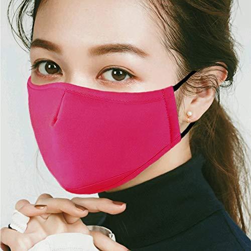 マスク 綿 布 花粉症 風邪予防 立体 おしゃれ 女性用 調整可能 繰り返し 洗える (バラ色)