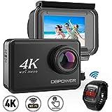 DBPOWER d5ネイティブ4K eisカメラアクションカメラ2インチLCDタッチスクリーン14MP Wifi防水スポーツカメラ4K 30fpsのビデオ、170度広角レンズ2.4GHzリモートコントロール2個充電式電池