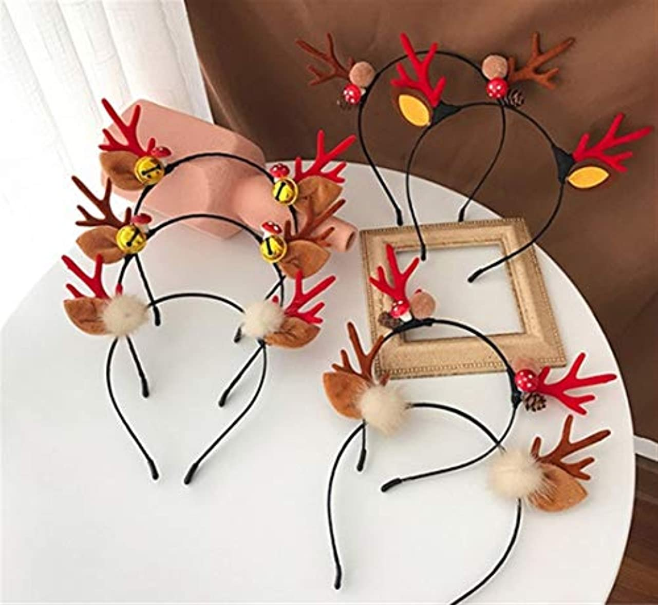 中庭嘆願畝間クリスマスヘッドバンド小さな枝角揺れヘッドバンドティアラ女性のヘアピン (Color : Red, Style : C)