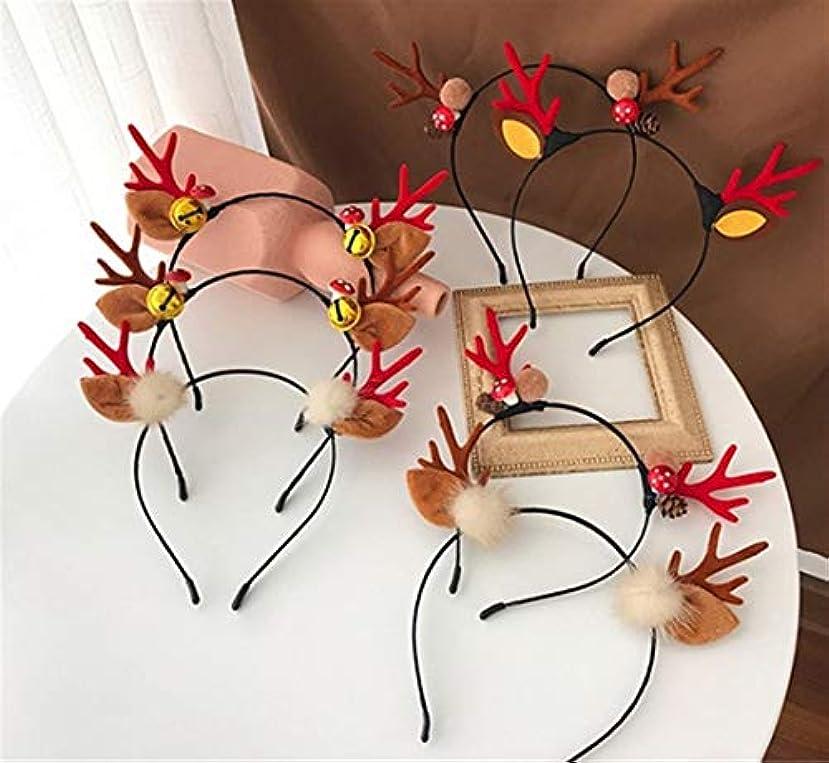 タヒチ受動的コンプライアンスクリスマスヘッドバンド小さな枝角揺れヘッドバンドティアラ女性のヘアピン (Color : Red, Style : C)