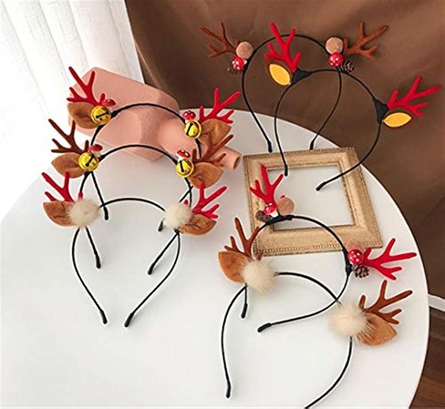 人里離れた発行描写クリスマスヘッドバンド小さな枝角揺れヘッドバンドティアラ女性のヘアピン (Color : Red, Style : C)