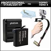 プロフェッショナルビデオビデオカメラスタビライザーキットfor GoPro hero4, Hero 4カメラアクションカメラ+拡張交換ahdbt-401( 1400mAh )リチウムイオンバッテリー+デュアルUSBバッテリー充電器+マイクロファイバークリーニングクロス