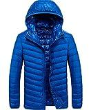 TACVASEN ライト ダウン ジャケット メンズ 超軽量 カジュアル 防寒 暖かい 秋冬用 ウルトラライト 羽毛 ブルー M