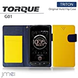 au TORQUE G01 ケース JMEIオリジナルホールドフリップケース TRITON イエロー エーユー トルク スマホ カバー スマホケース スマートフォン