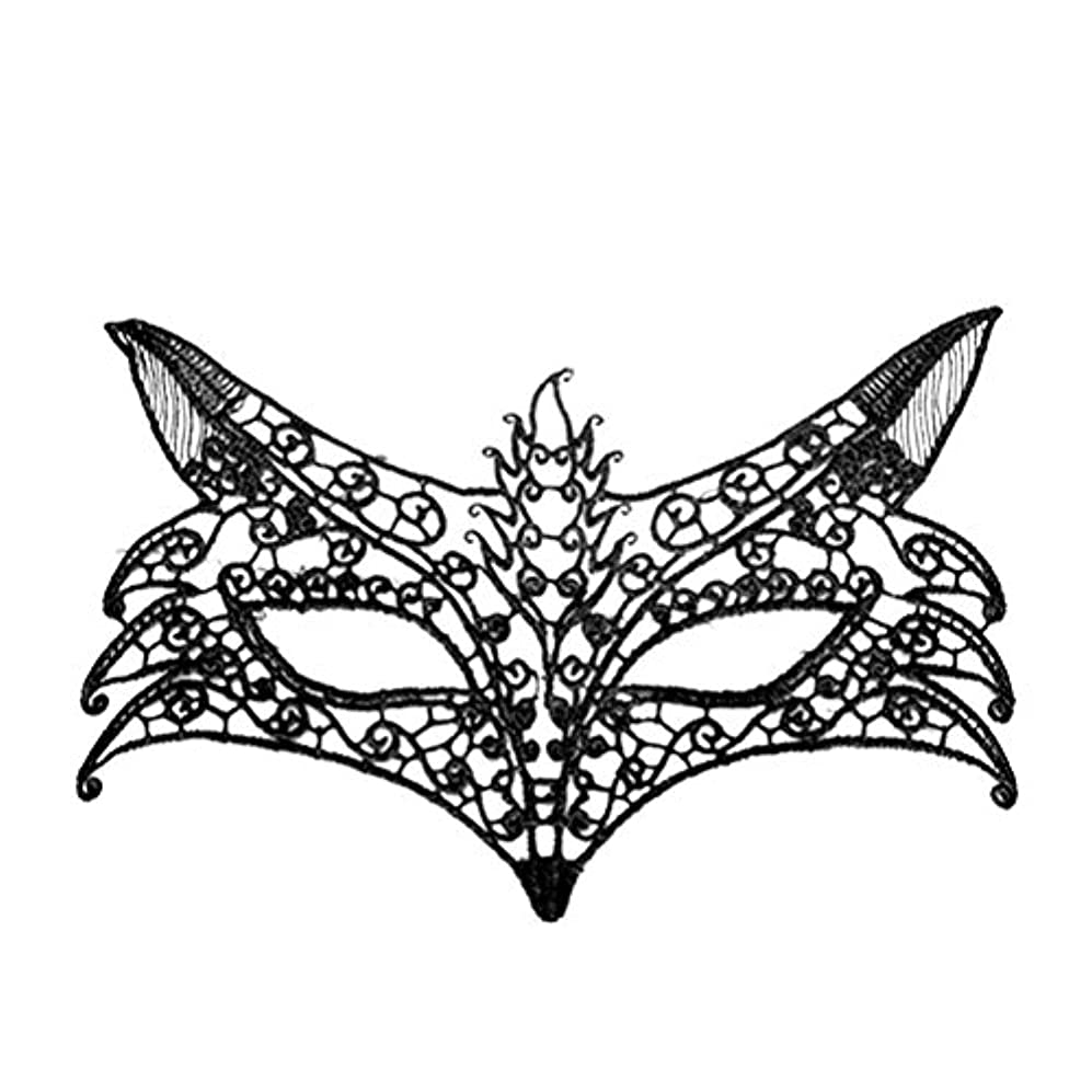 バー自分のためにバッチAMOSFUN キツネの形をしたレースパーティーマスクイブニングパーティーウエディングマスカレードマスク(ブラック)