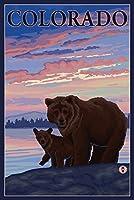 ブラックBear and Cub–Colorado 16 x 24 Signed Art Print LANT-16451-709